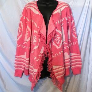 Pink and white cardigan sweater Aztec type Medium